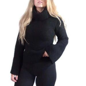 Sweaters - 100% Wool Black Turtle Neck Flare Sleeve Sweater